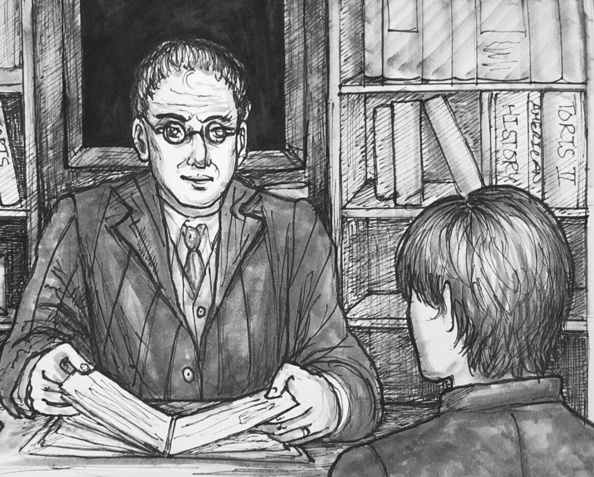 "Our Inktober prompt ""law"" - featuring Dean Cox (left) and Sam (right) from our indie visual novel in development, ""Sam in New York"""