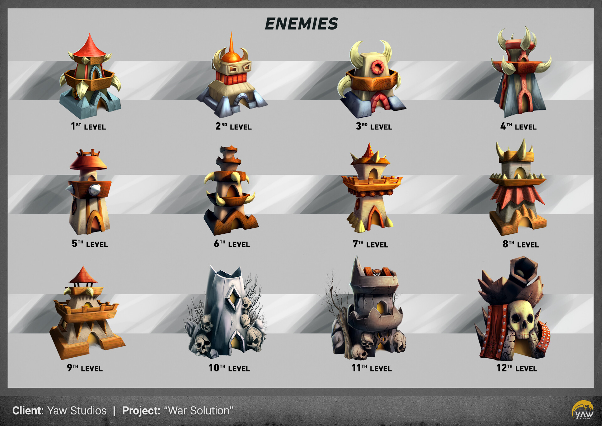 Here are the 12 enemies you will face in the first world of the game!