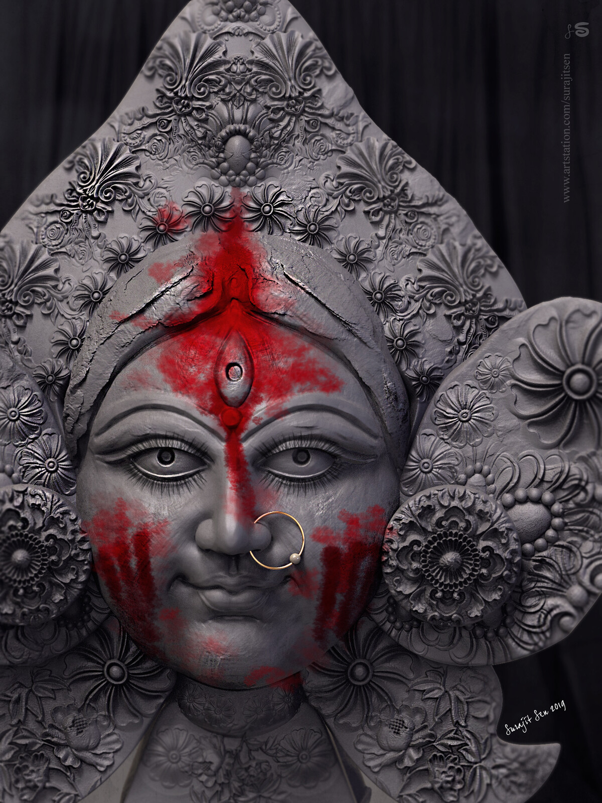 Happy Vijaya Dasami Digital Sculpture. Tried to make a form of my thoughts...