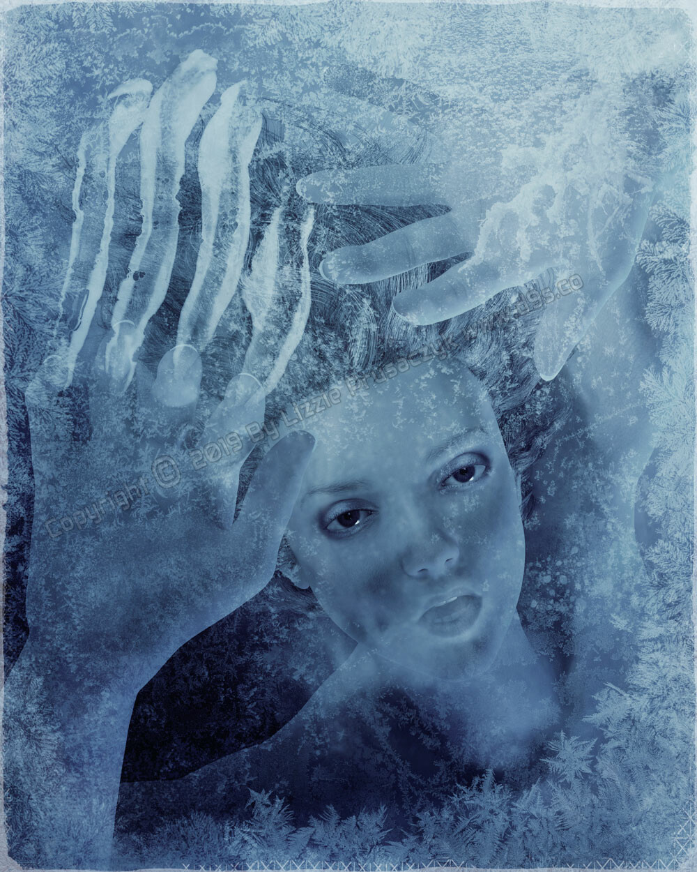 A woman is trapped and dying beneath a sheet of ice. At first she tried to escape but now she is resigned to her fate. No one can save her.