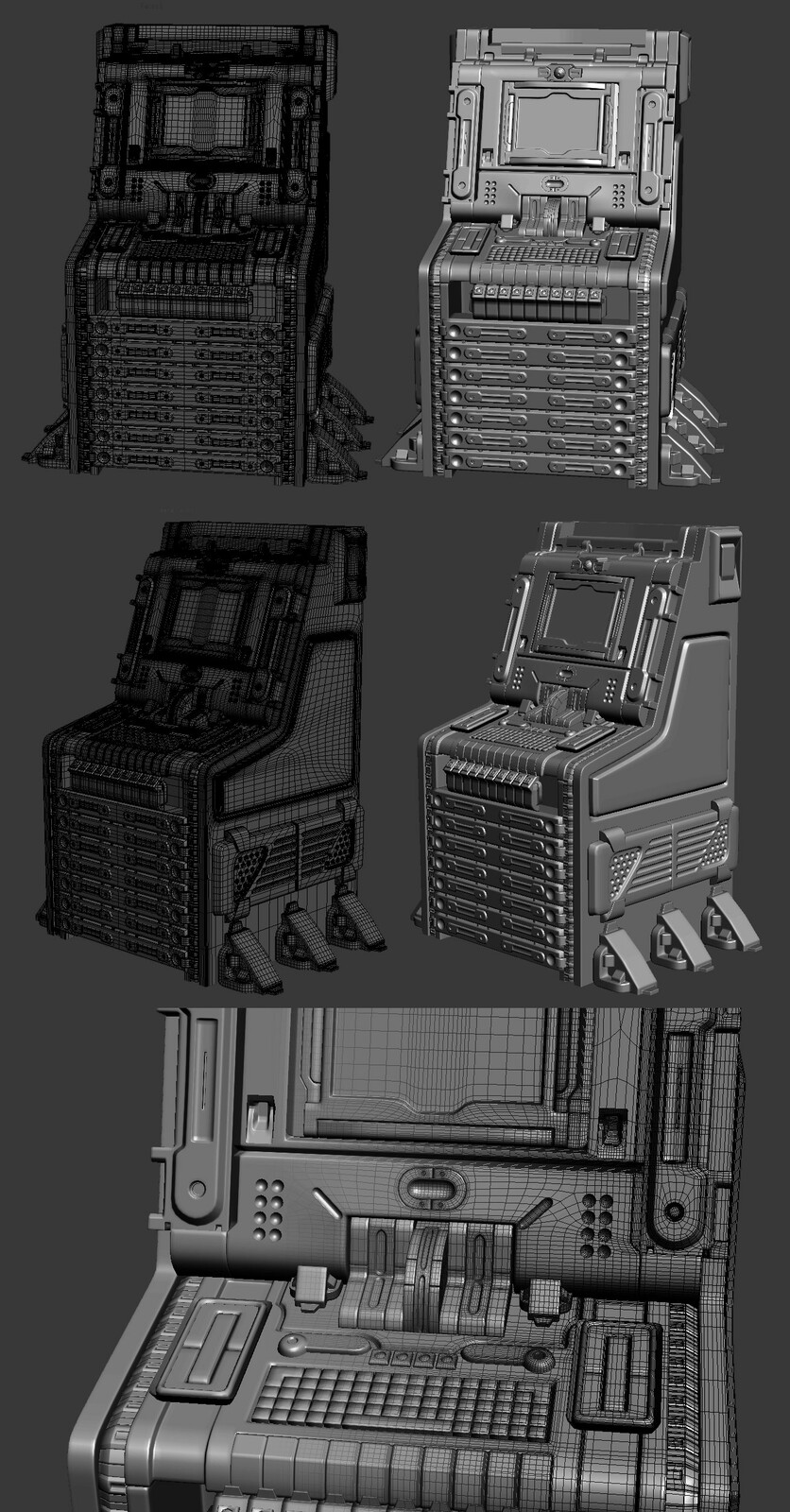 Space computer high poly.