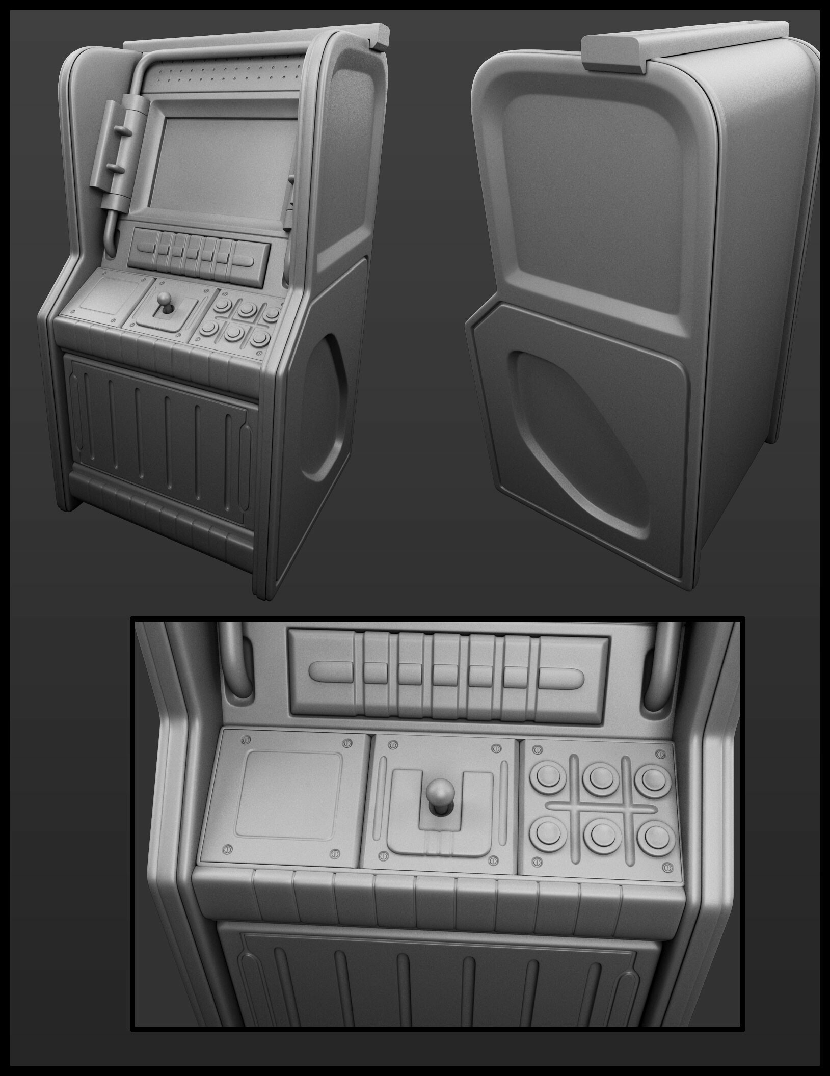 BLOPS arcade machine high poly.