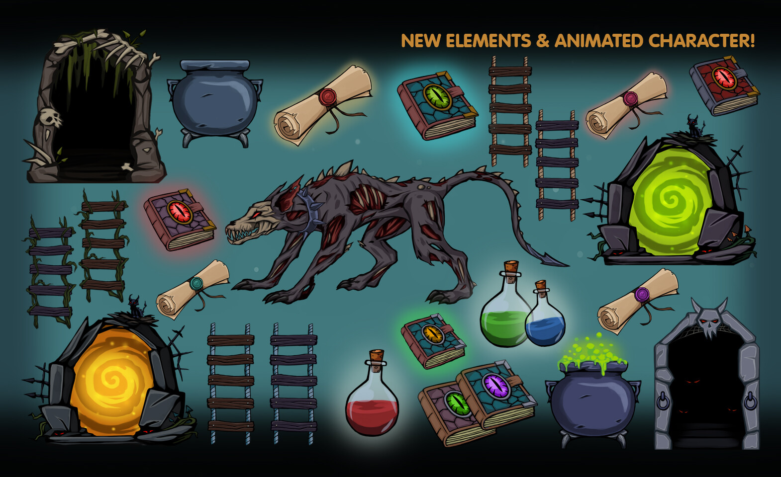 New game elements and animated Hell-hound character