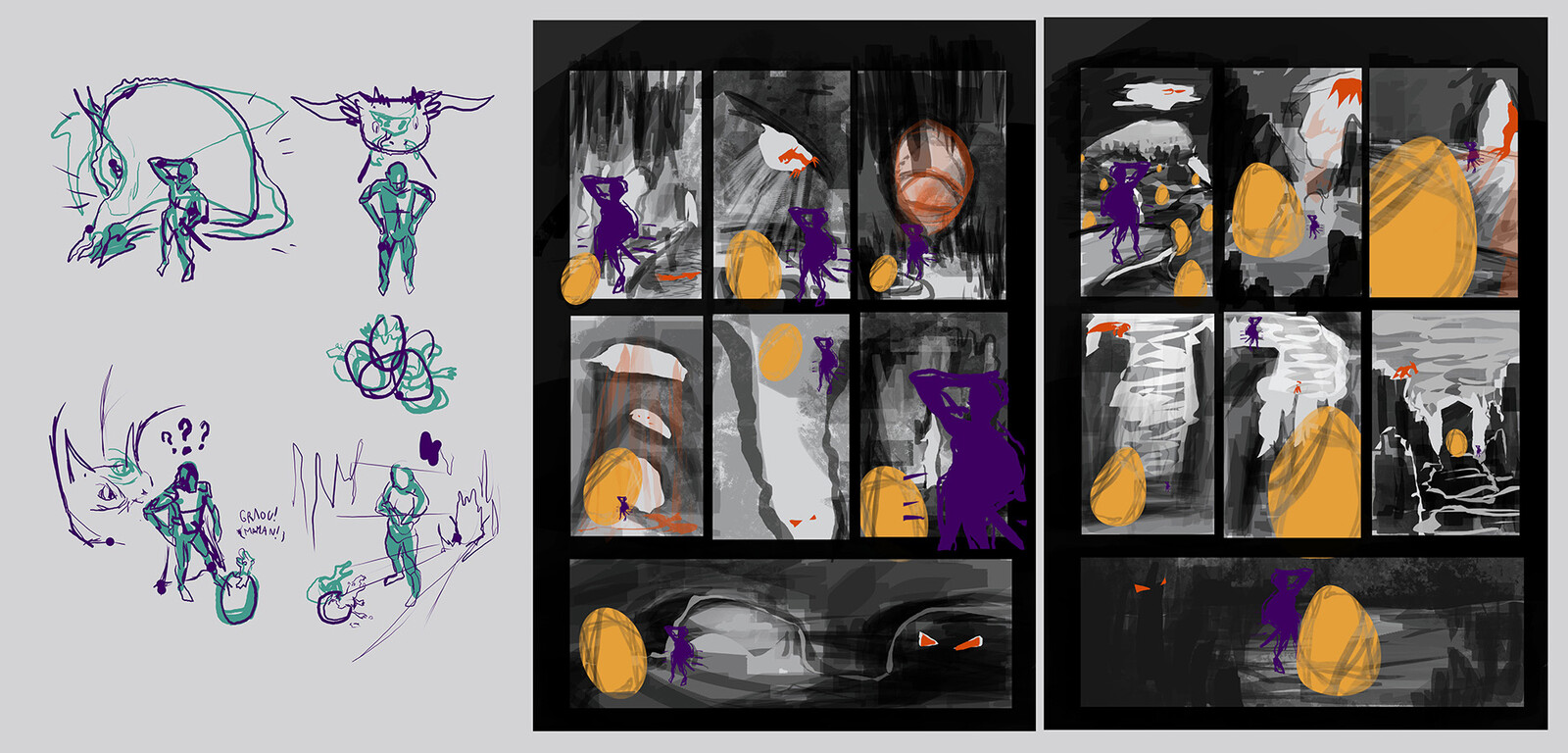 idea sketches and composition thumbnails