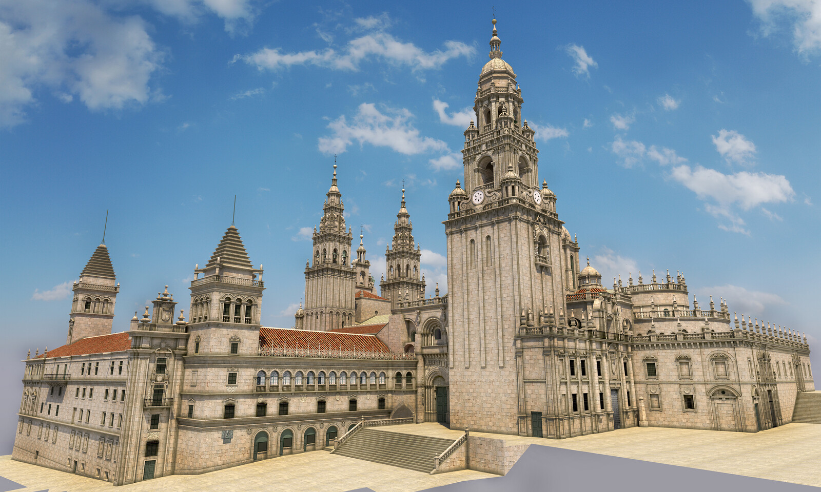 3D illustration. Exterior. Rear view of the cathedral complex with the Treasury Facade of the cloister on the left, the Platerías Facade and the Berenguela tower in the middle and the main apse and the Saint Door on the right.