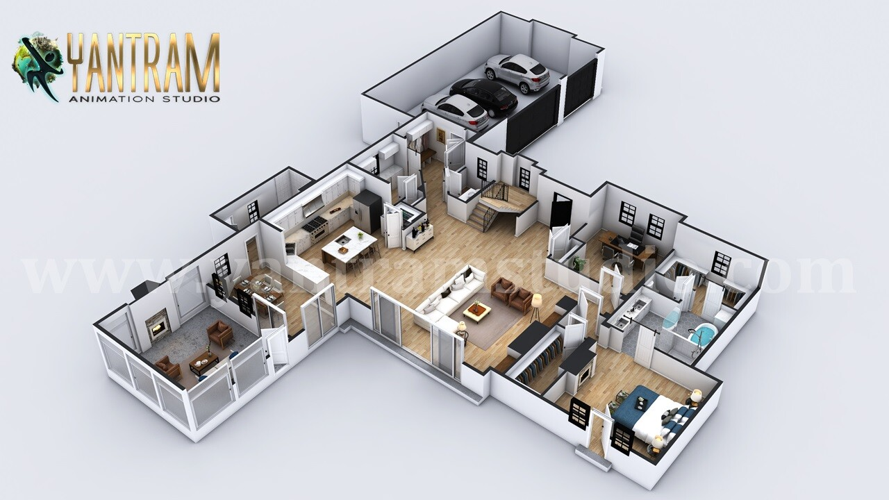 ArtStation - 4-bedroom Simple Modern Residential 3D Floor ...