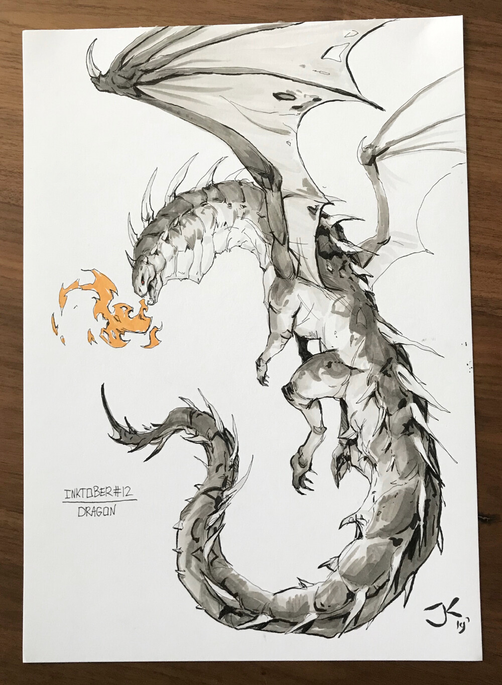 Jordy knoop day12 dragon inktober2019 lr