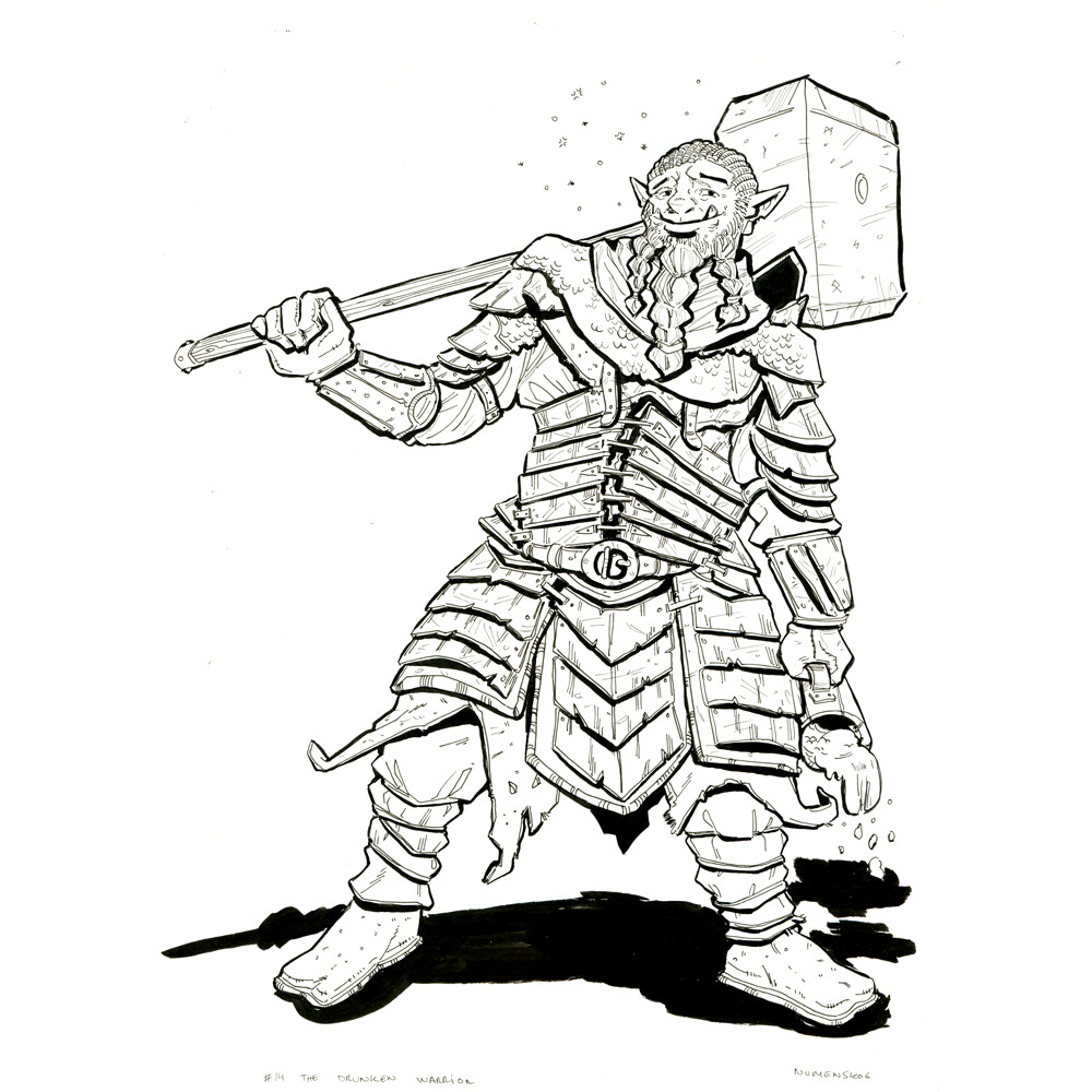 Day 14: The Drunken (orc) Warrior Pose referenced from stock / https://www.deviantart.com/null-entity )