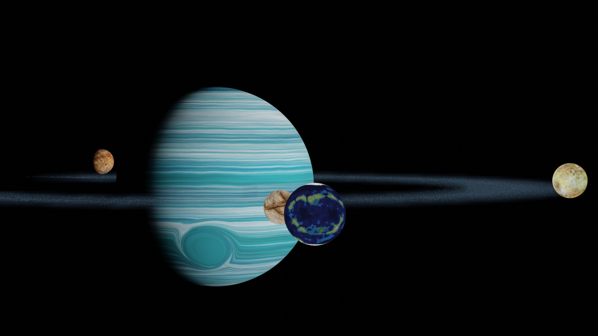 Shinseiko kuromatsu awesome gas giant roid rings 4 with volumetric dust and moons