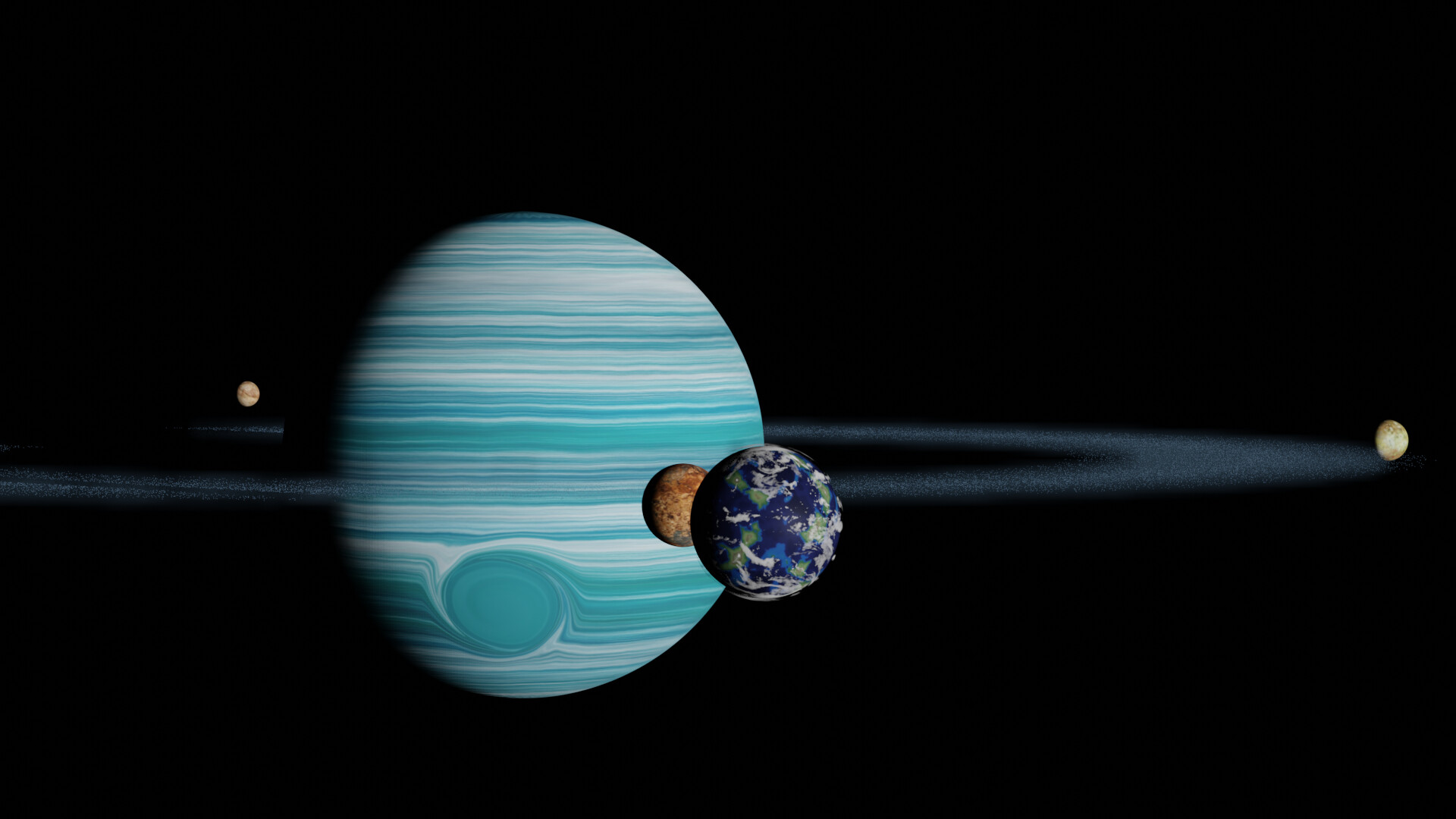 Shinseiko kuromatsu awesome gas giant roid rings 6 with volumetric dust and moons