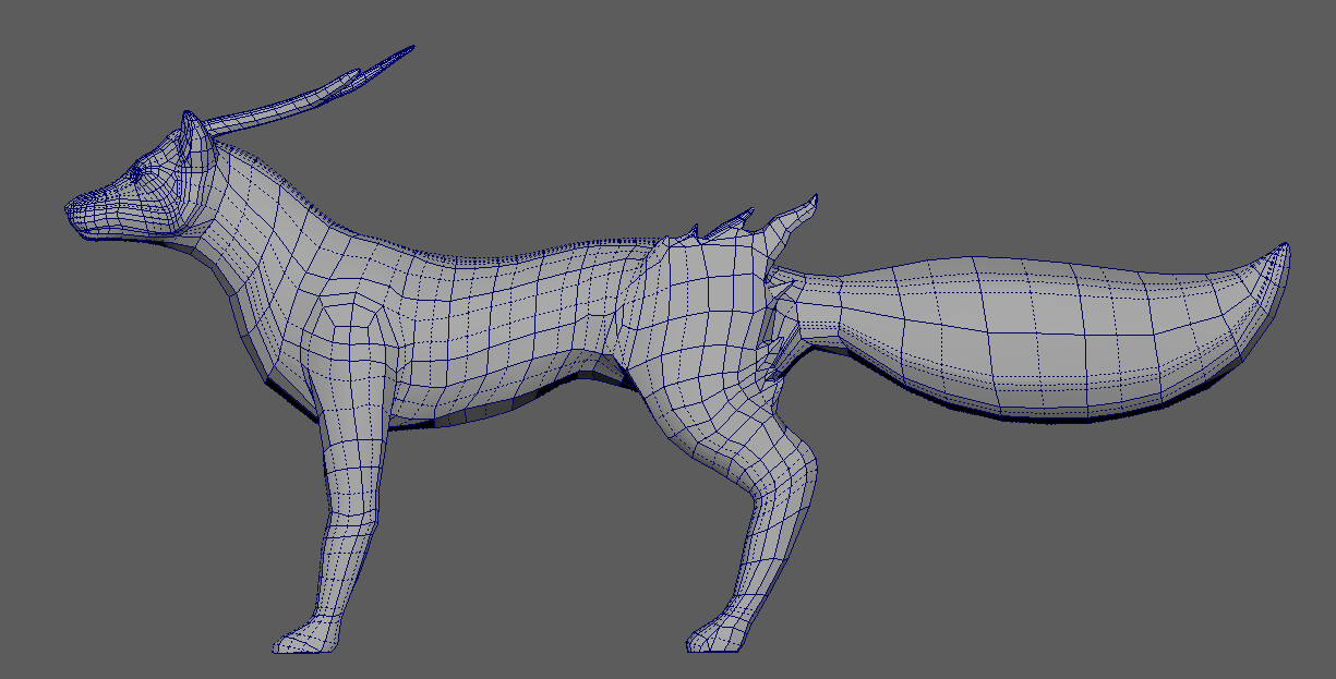 From Zbrush, took it into Maya to retopologize. Wireframe side view of the fox model. Poly count: 8588 tris.