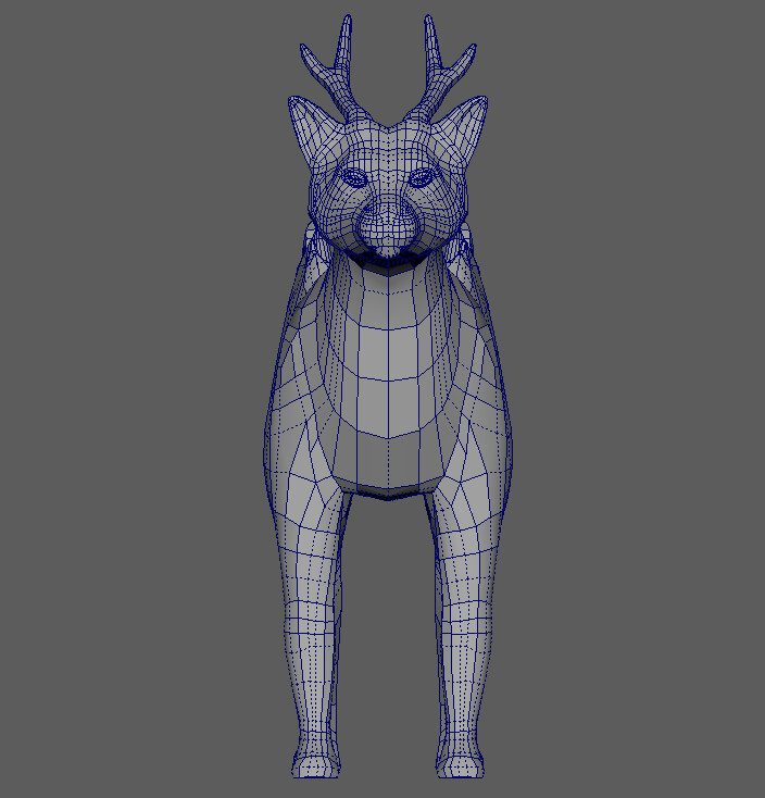 Wireframe front view. Poly count: 8588 tris.