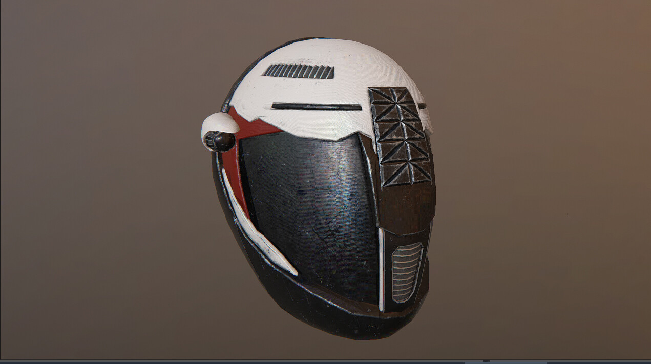 Modeling/Texturing/Shading Low-Poly helmet skin for game