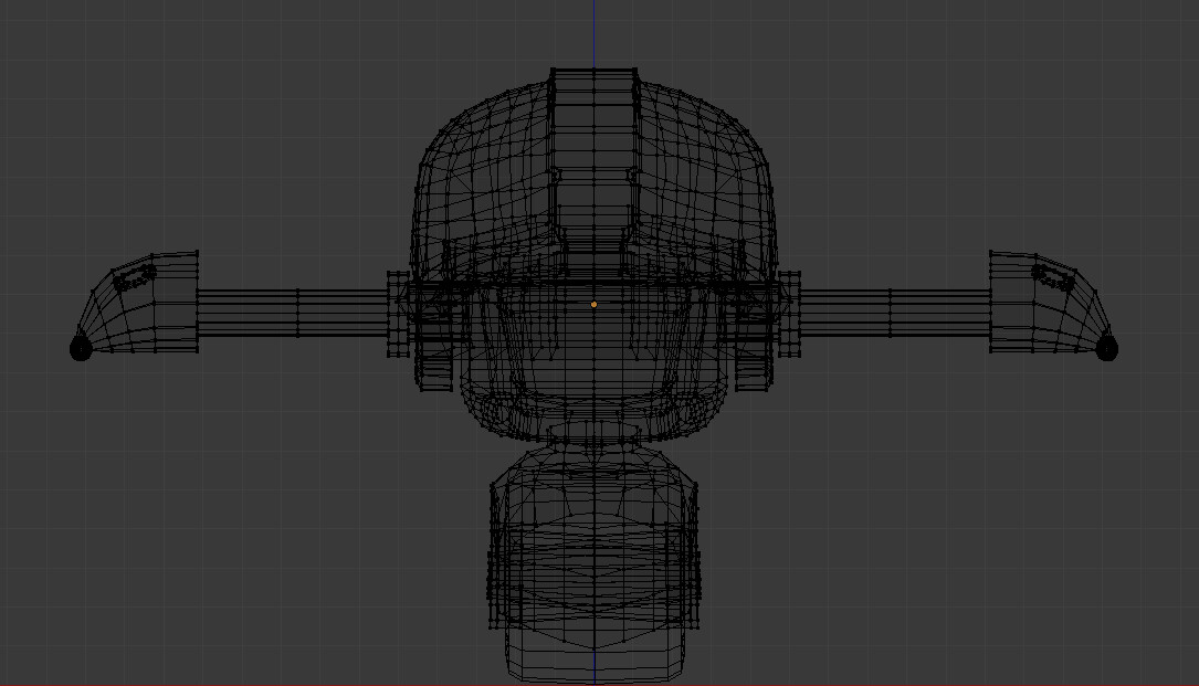 Wireframe of the couch player model.