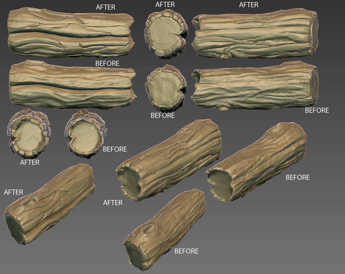 rework of log assets to help establish direction to 3D team.