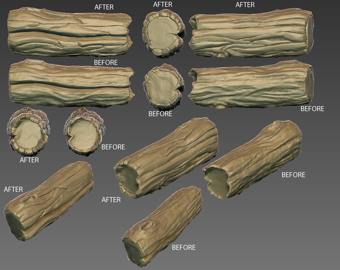 rework of log assets to help establish direction to 3D team.
