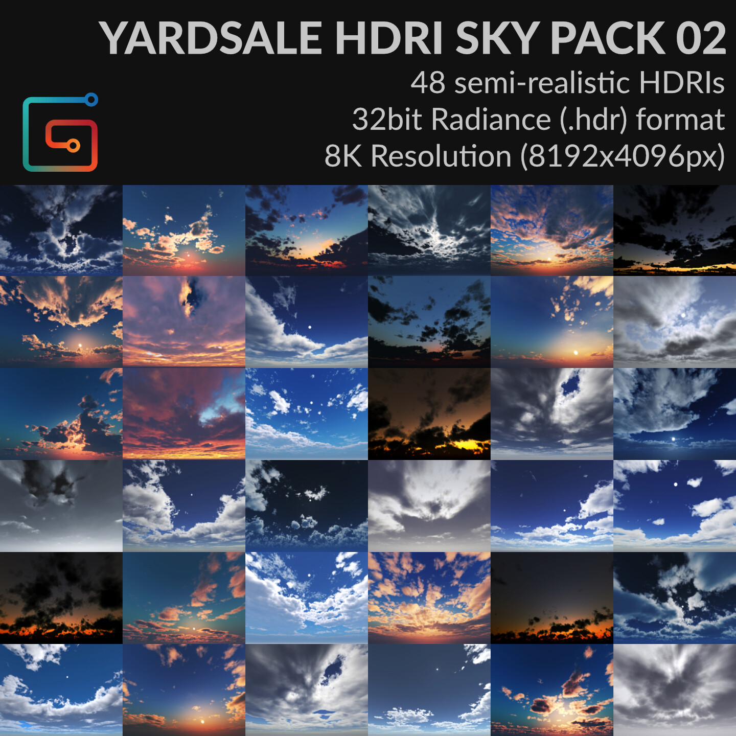 Now featuring 48 skies with crisp lights and shadows. Now includes cloudy overcast skies.