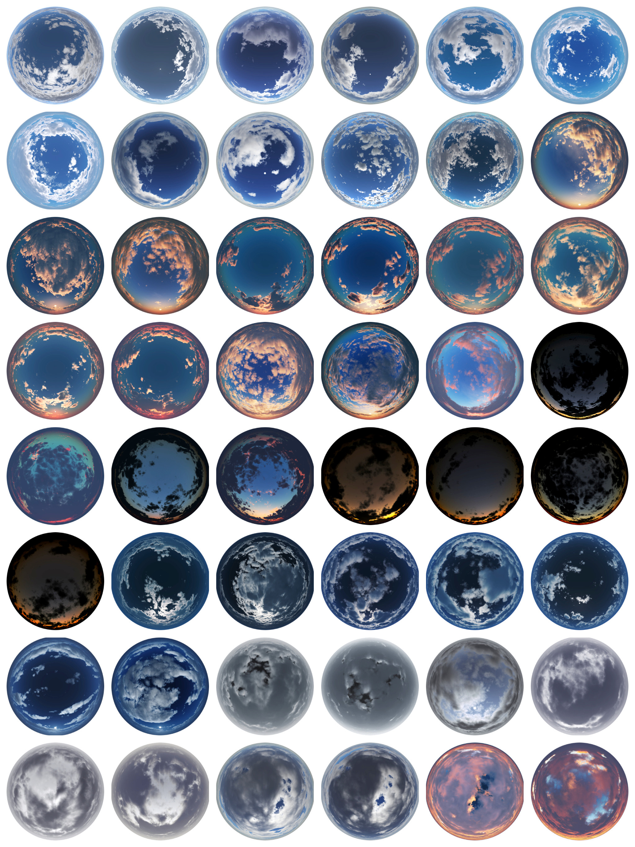 Here are all 48 skies. A few of them are variants of each other, while similar, all lighting situations are different.