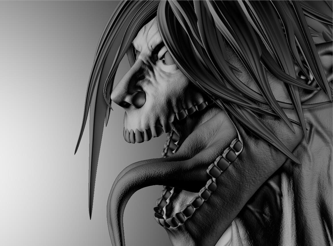 Artstation Attack On Titan Eren Titan Form Bust Shuyang