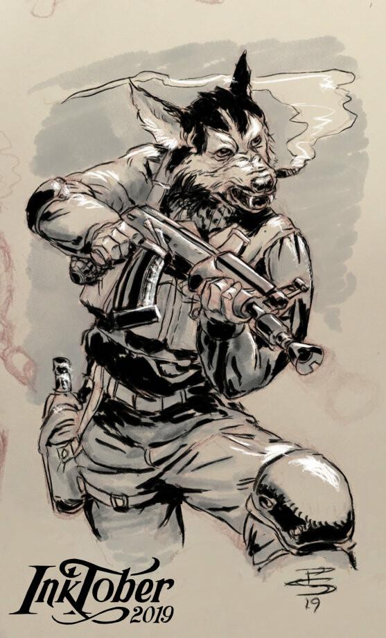 "Chukcha Khaski, Militant Husky revolutionary. (""Husky"") Pencil Sketch, ProCreate Inks"