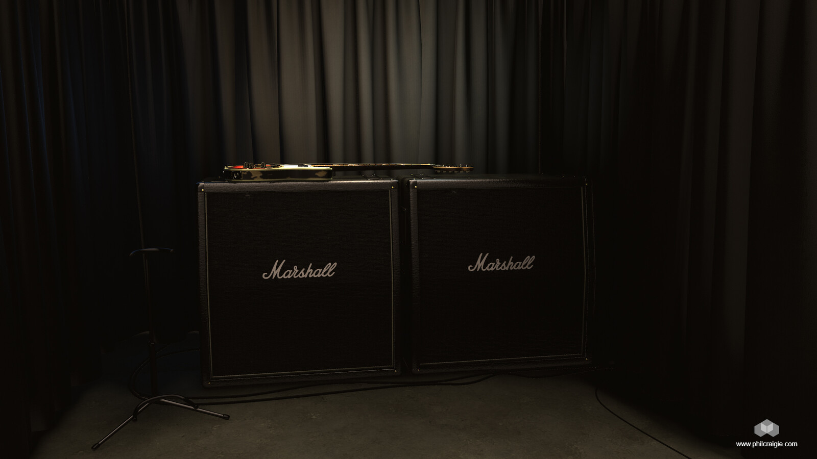The Studio setup for the renders. This shows the other props I created. Curtains, Speakers cabinets, guitar stand and floor.  The Marshall speaker cabinets tiling materials (vinyl covering and speaker cloth) were created in Substance Alchemist.