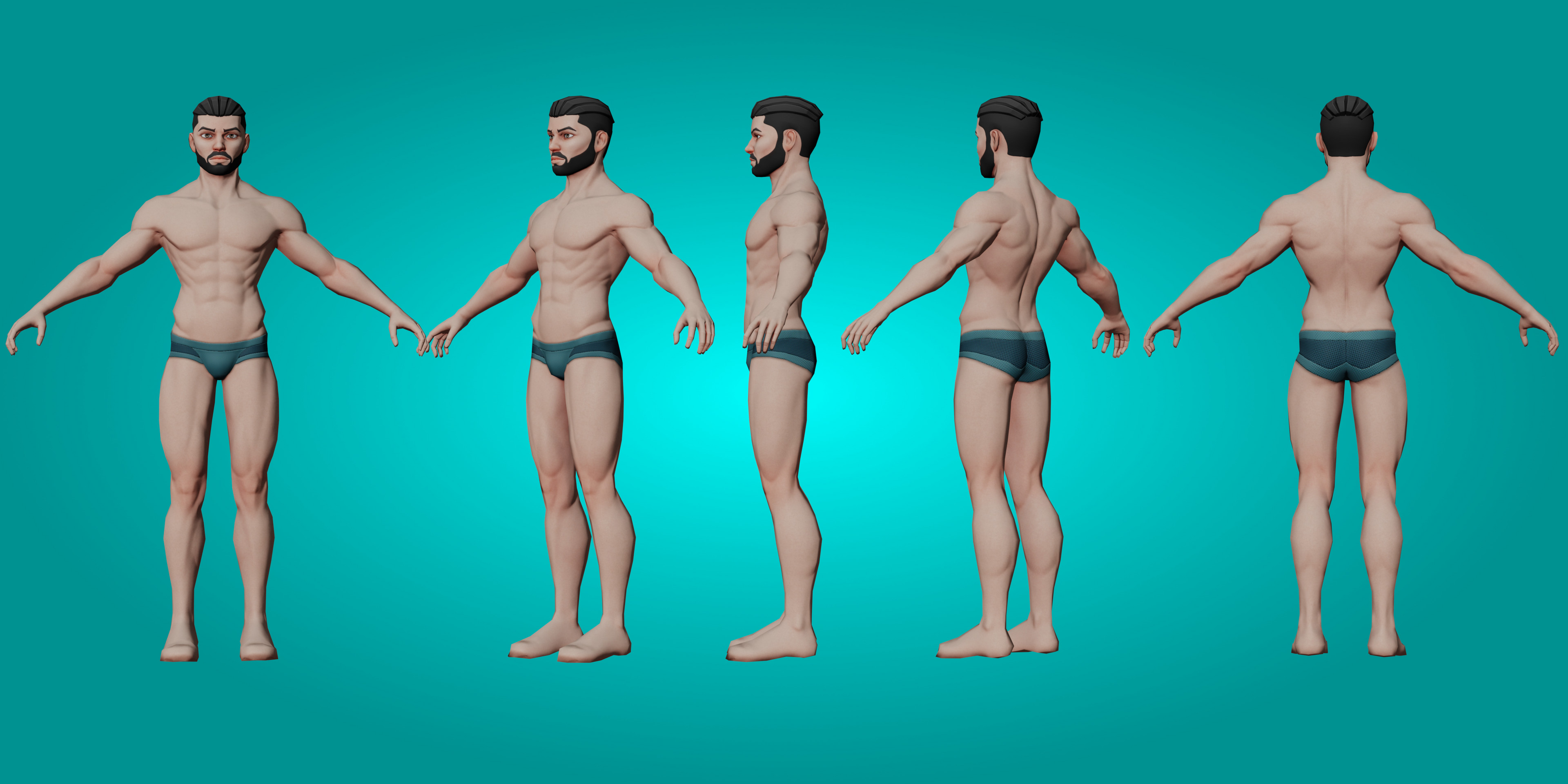 360º low poly male character