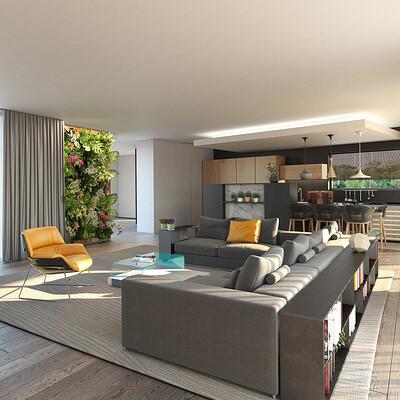 3d factory 3df youmby villa interieur salon 2 vue cuisine