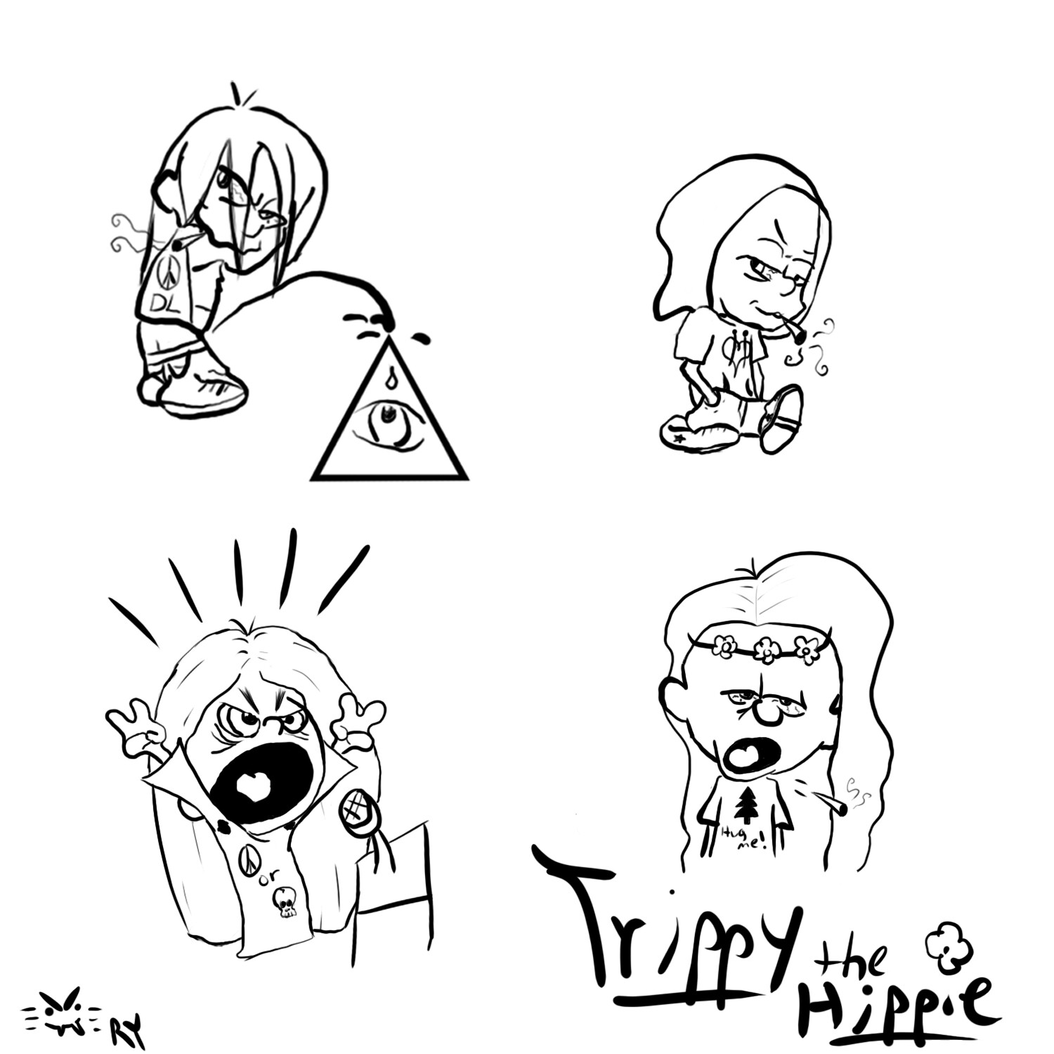 Various-haired variations of Trippy the Hippy