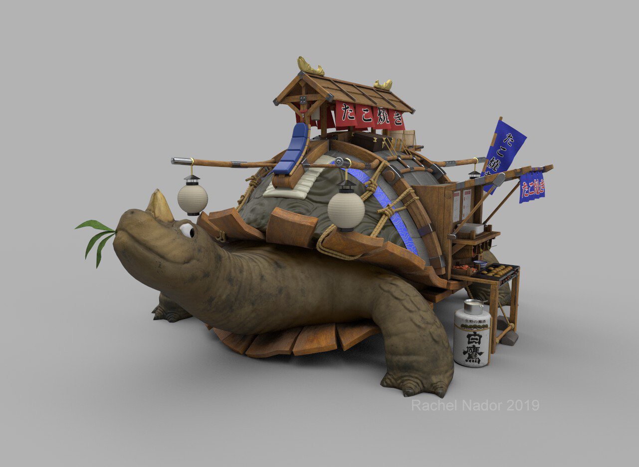 This is my model of the amazing Takoyaki Turtle concept art by Jourdan Tuffan found here: https://www.artstation.com/artwork/zBlx4