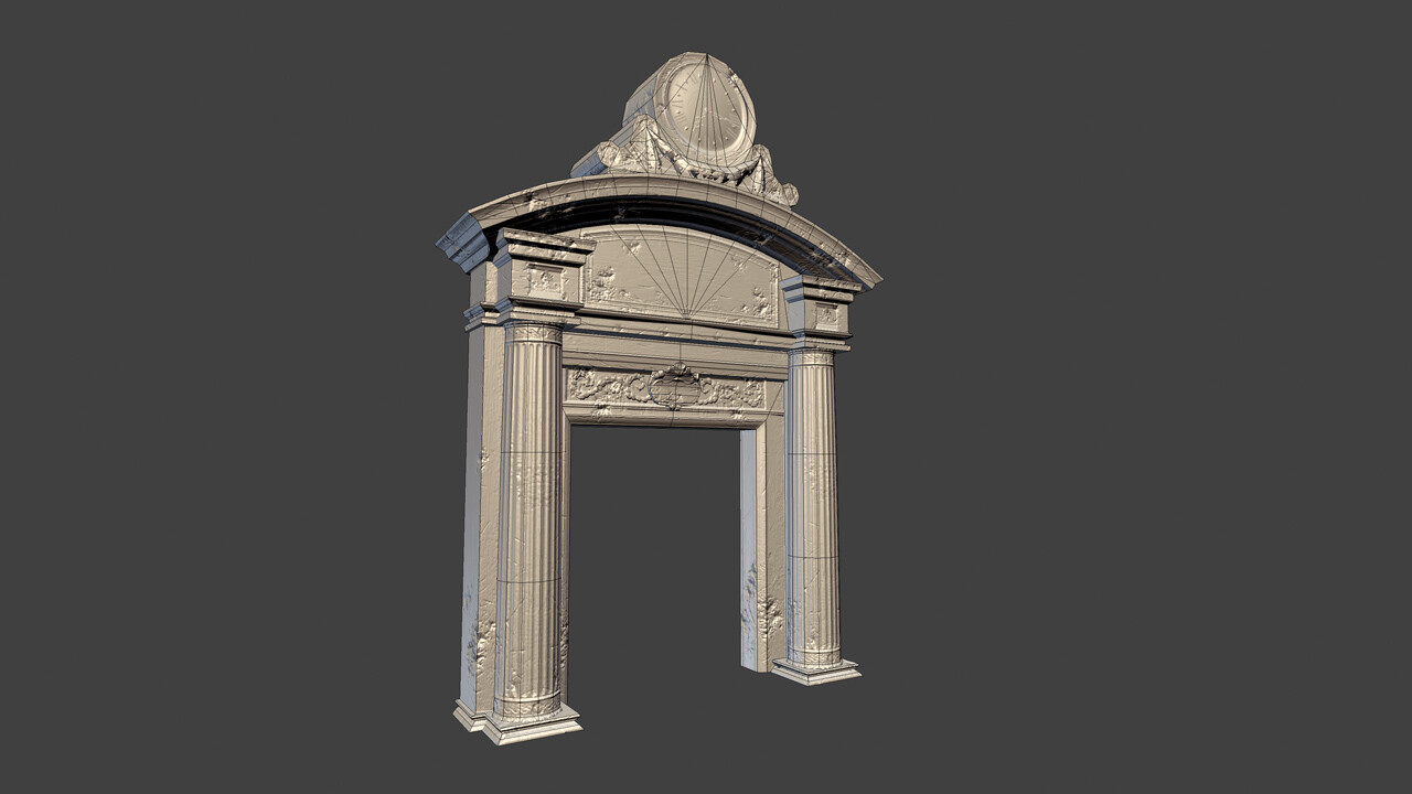 Library Door - Low Poly Wireframe - 1118tris