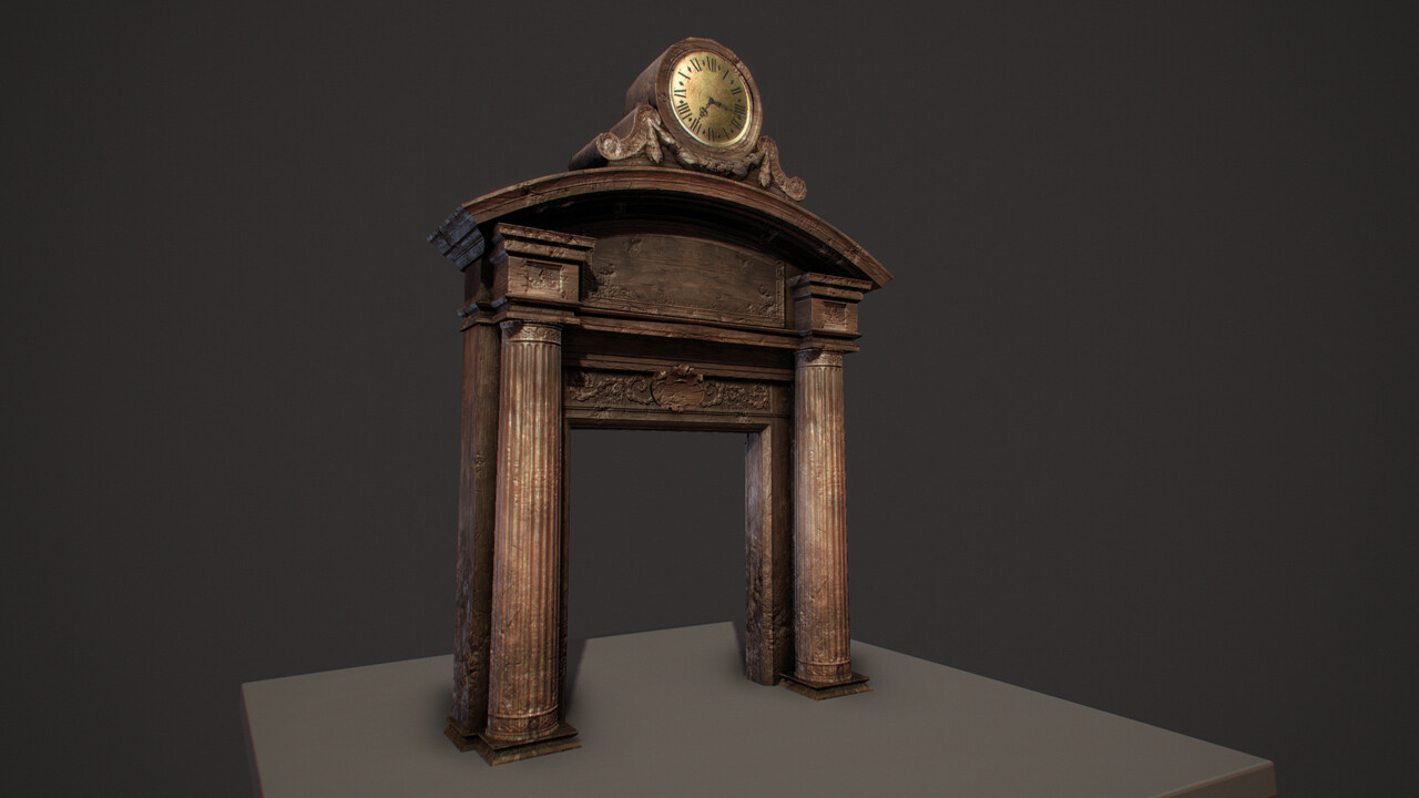 Library Door - Low Poly in Max Viewport (Xoliulshader) - 1118tris, 1x 1024x1024 (diff, spec, norm)