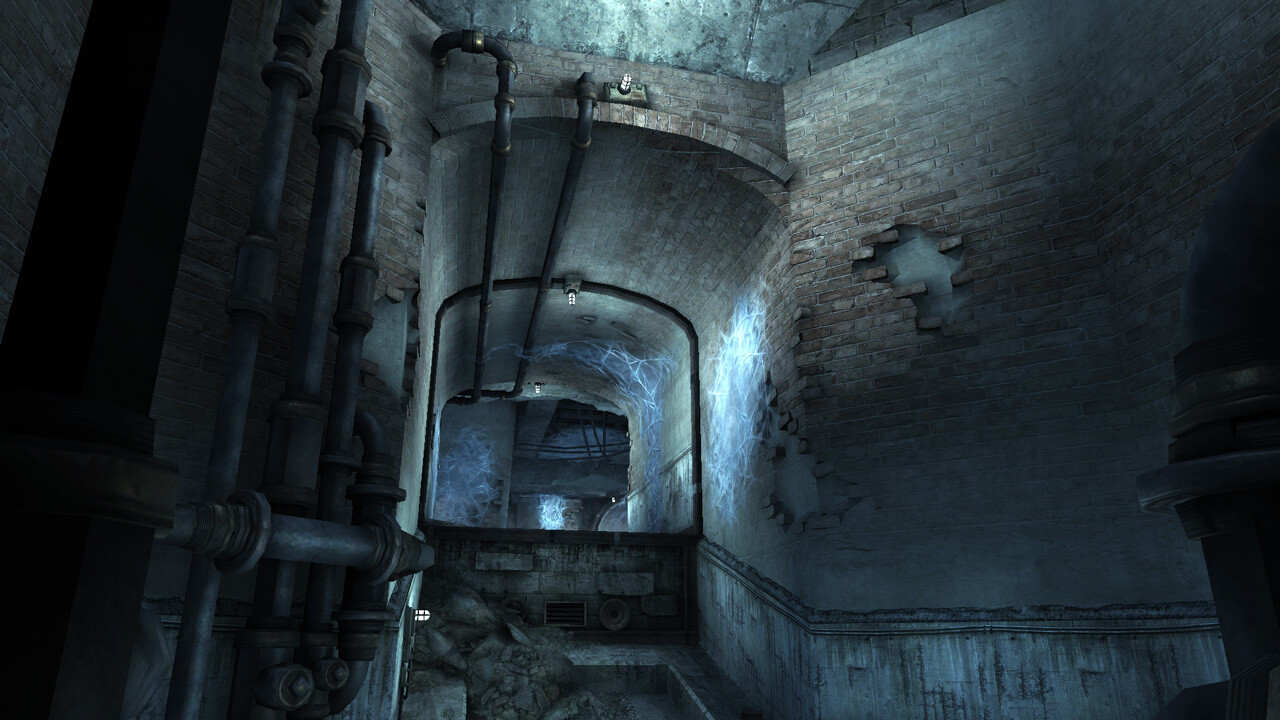 Sewer Tunnel - In Game ----- Layout, world building from existing assets, and lighting.