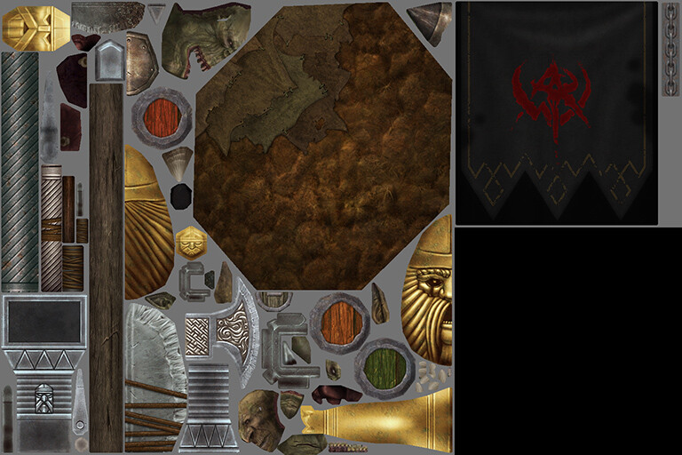 Dwarf Banner - Textures - 1x 1024x1024, 1x 512x512 ----- (orc and goblin heads provided by character team)