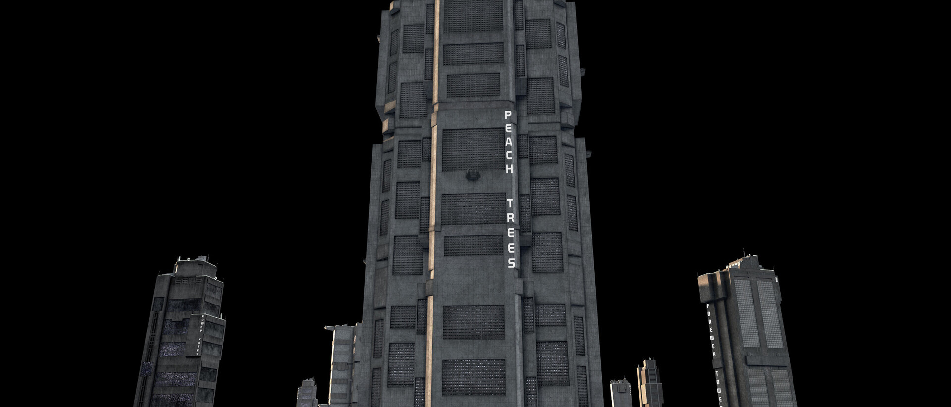basic 3d render of Peach Trees and surrounding mega blocks