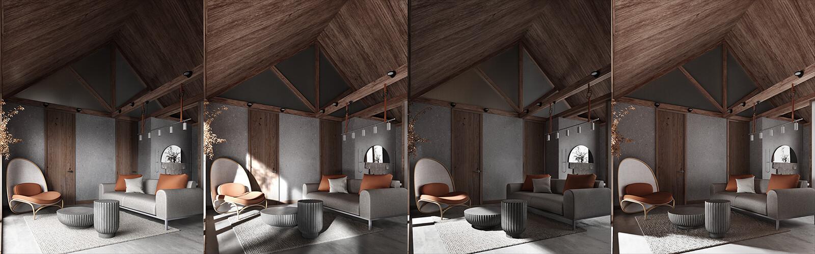 Interior light variations in color