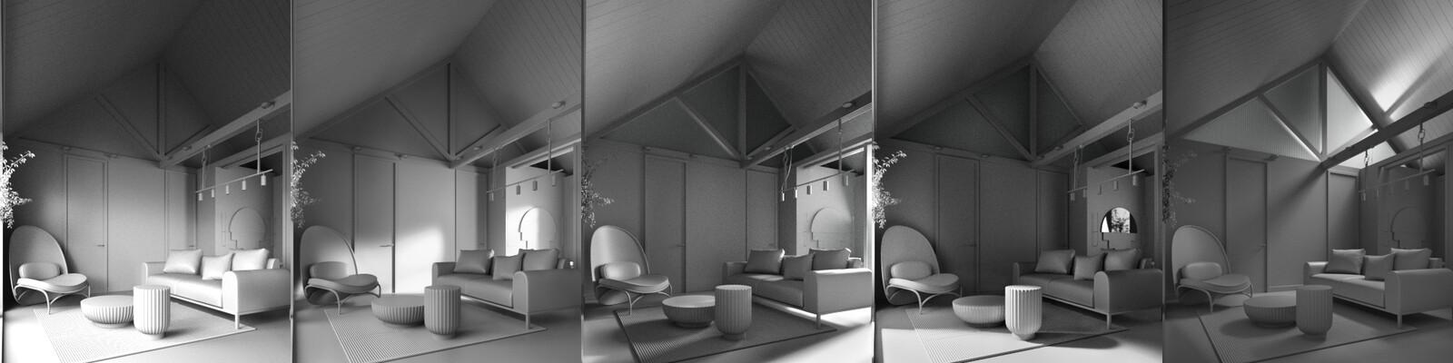 Interior light variations in 1 material