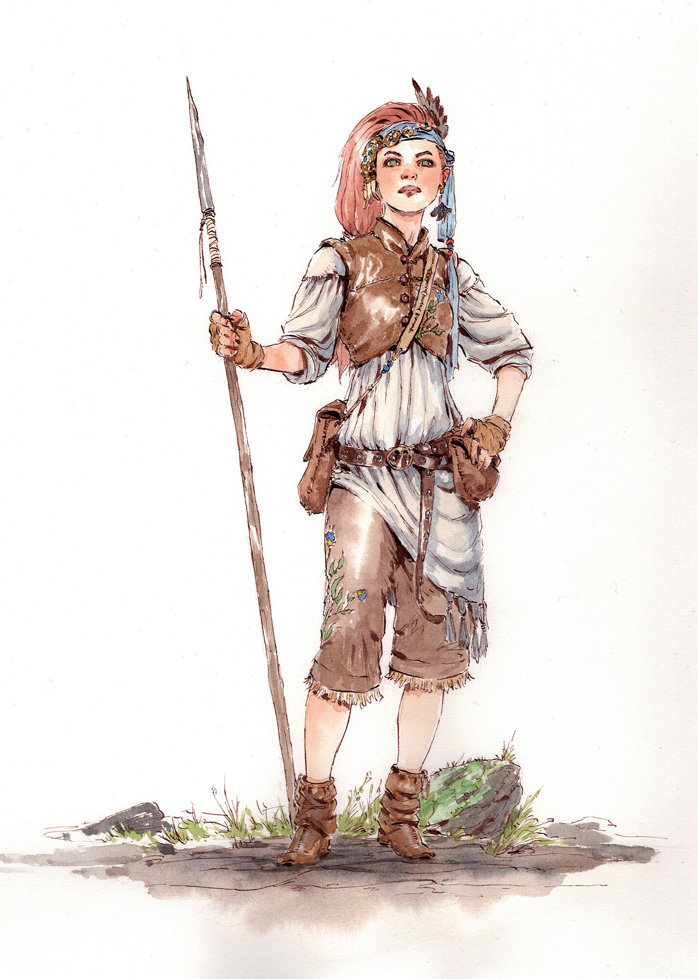 """My initial watercolor version of my character, Feona. 11""""x15"""" on Saunders Waterford Hot Pressed Paper."""