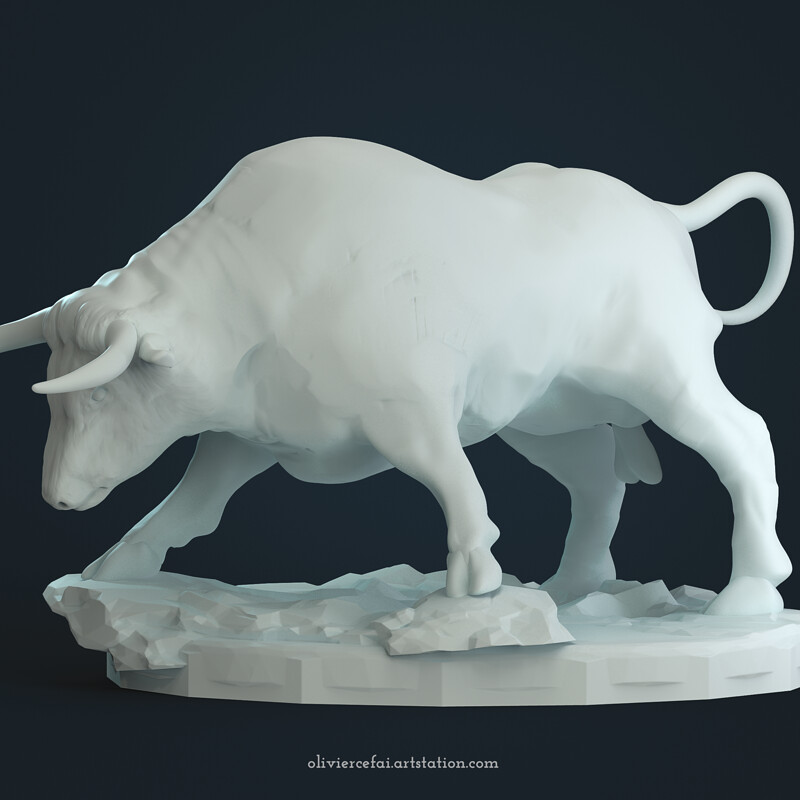 Bull miniature sculpt for 3D printing