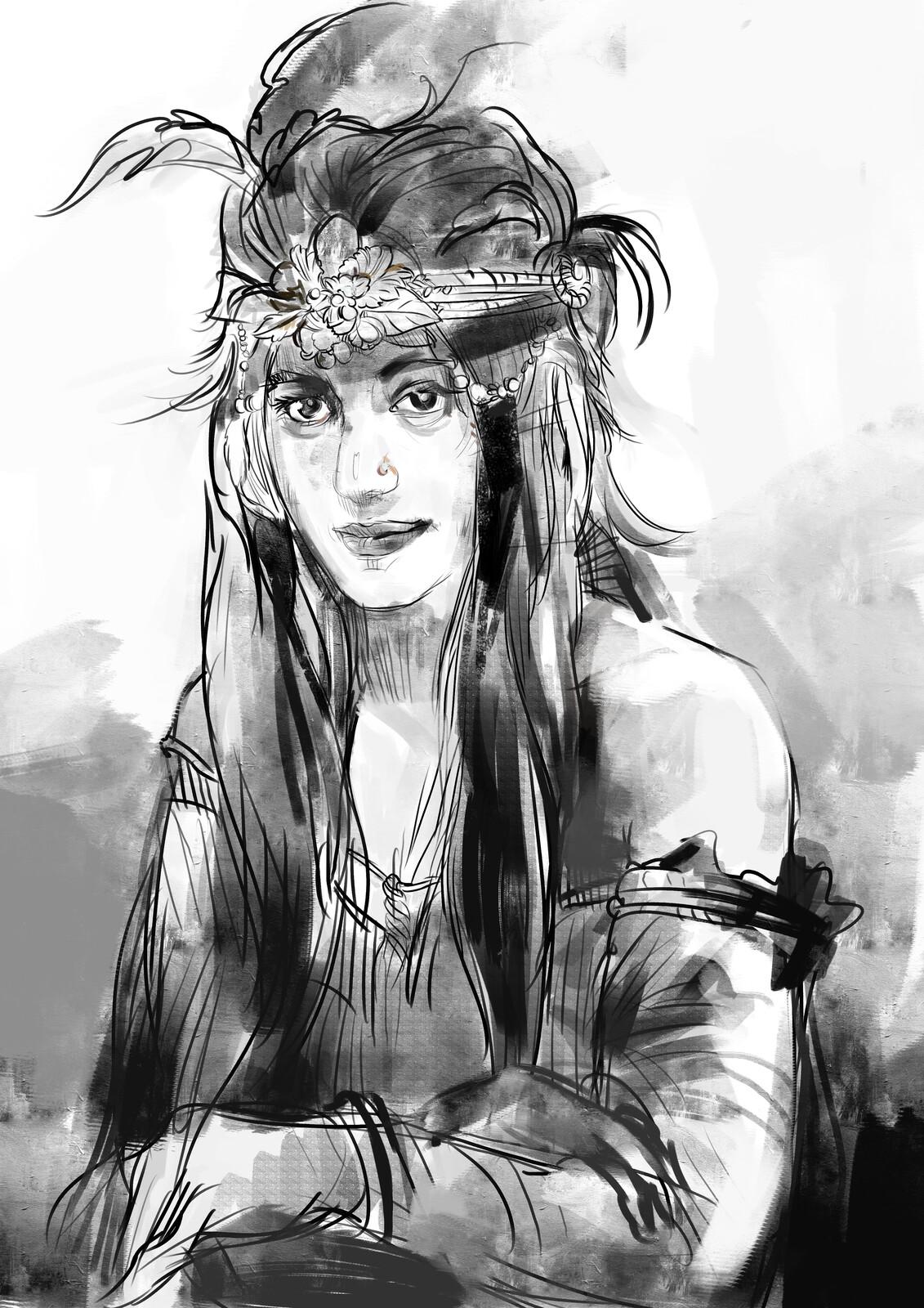 lady portrait  drawing