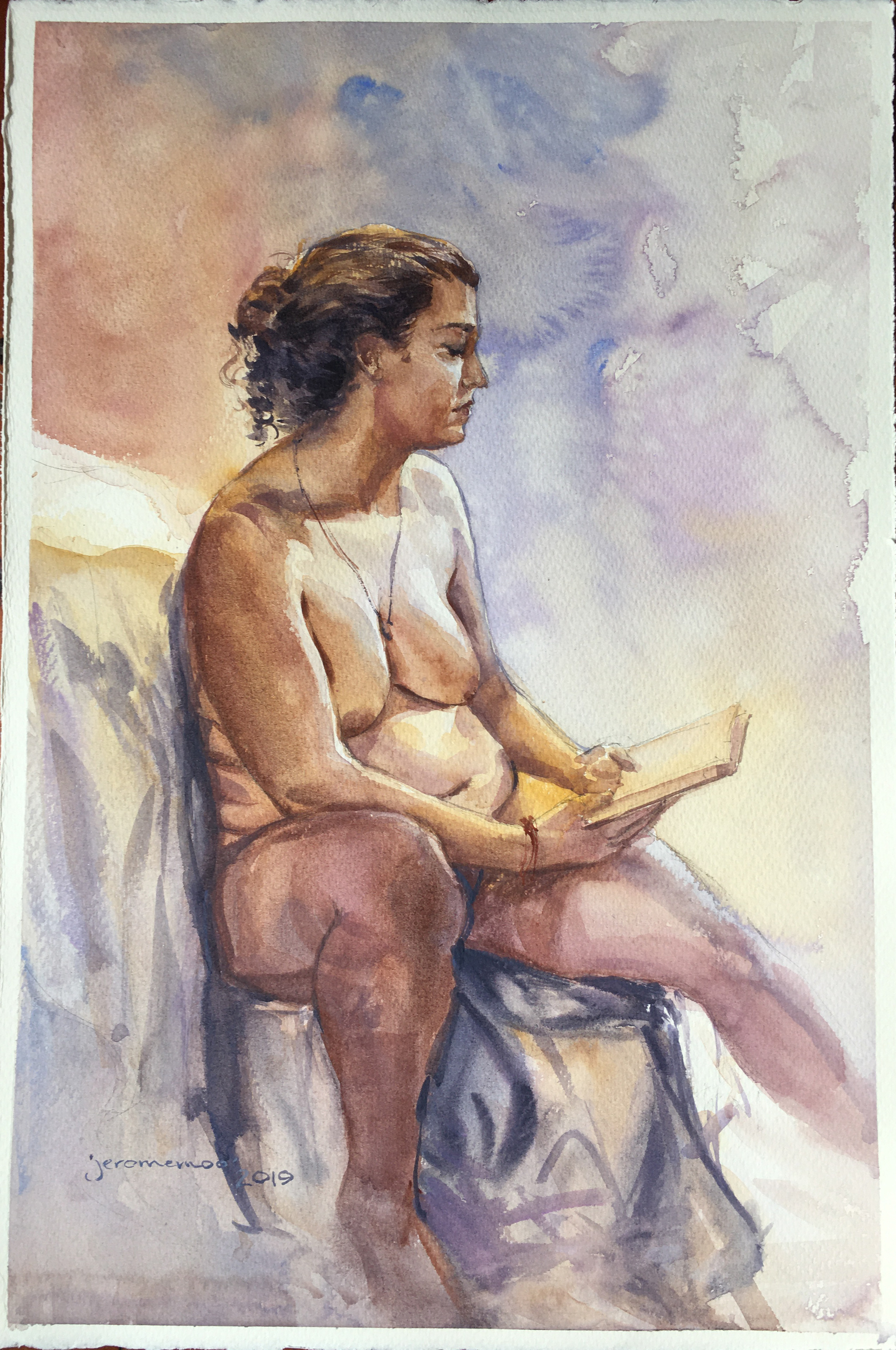 Long Pose Life Drawing of Marika  Watercolour on 28x38cm 425gsm Rough Saunders Waterford Watercolour Paper
