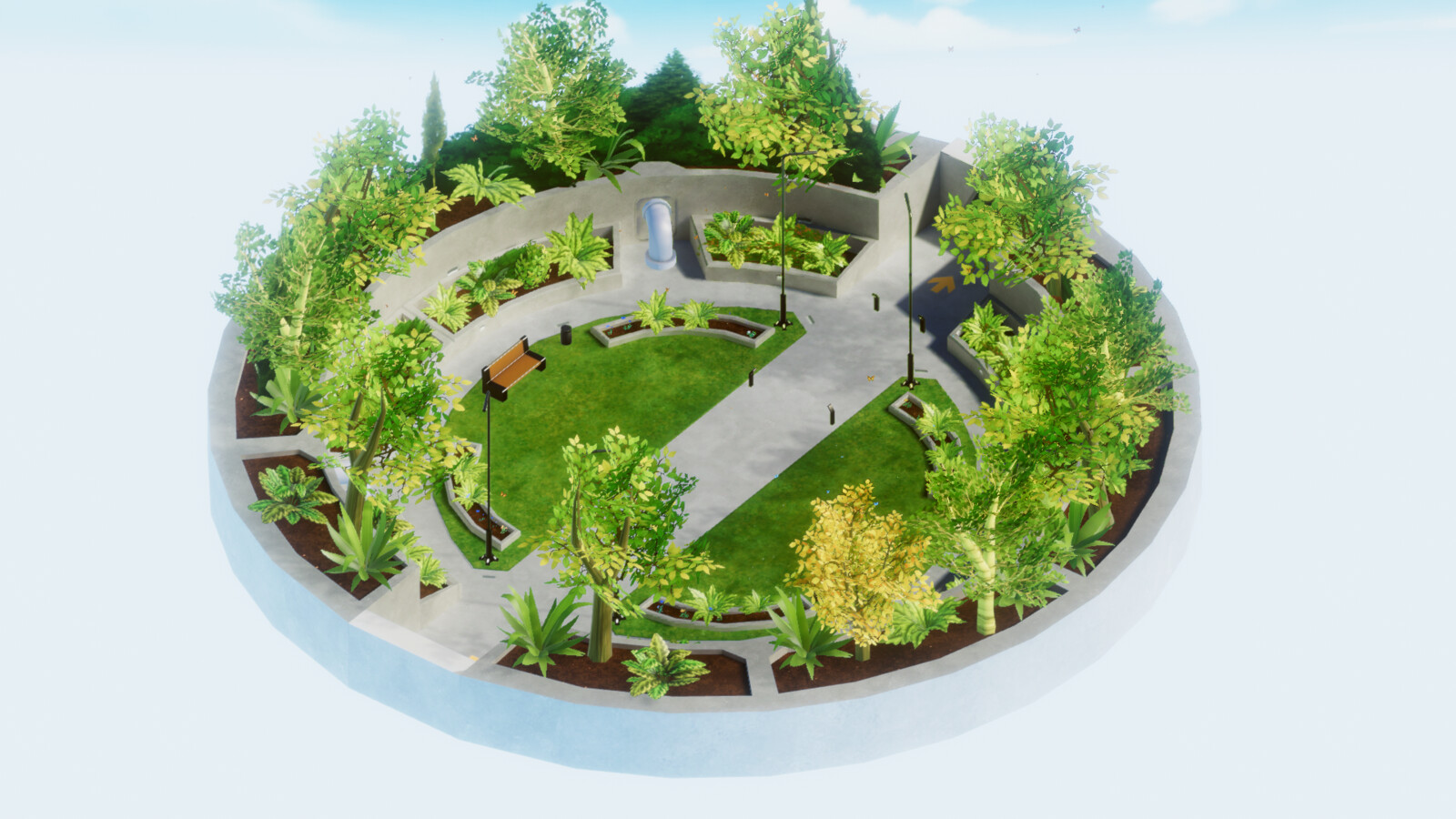 VR mobile stylized enviro dome park isometric