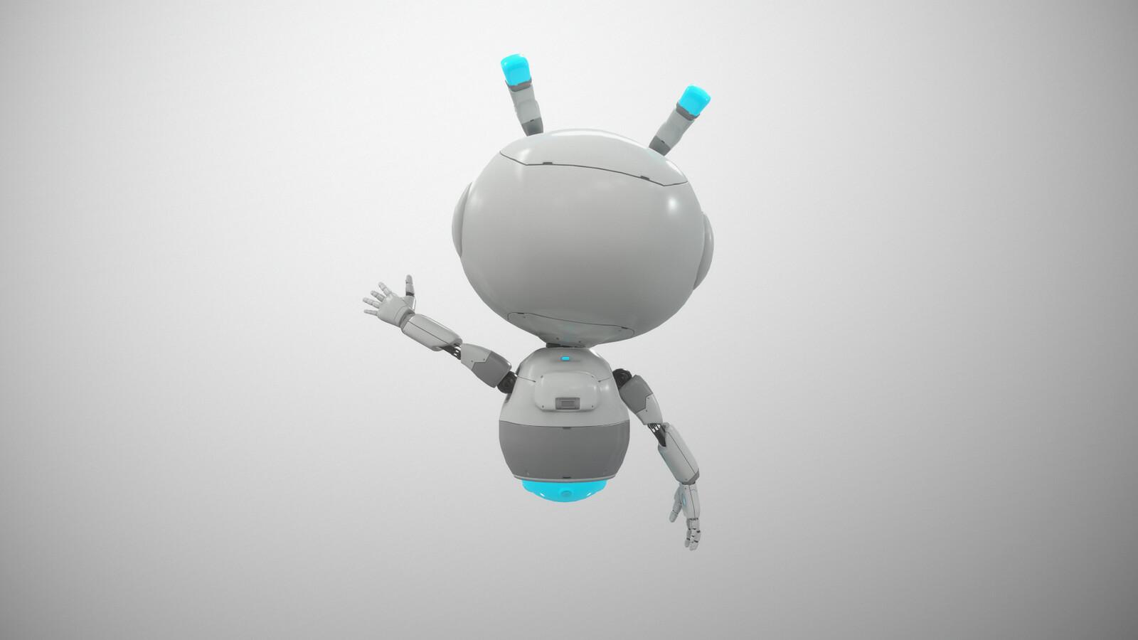 VR Stylized sci fi robot guide, Mia back