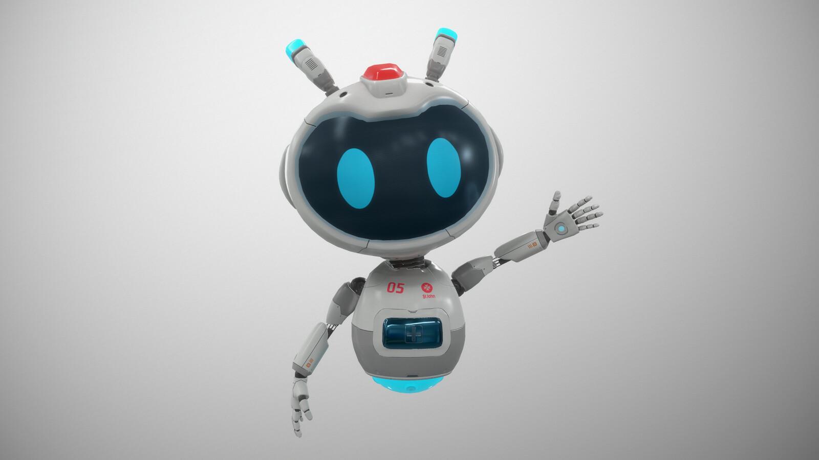 VR Stylized sci fi robot guide, Mia