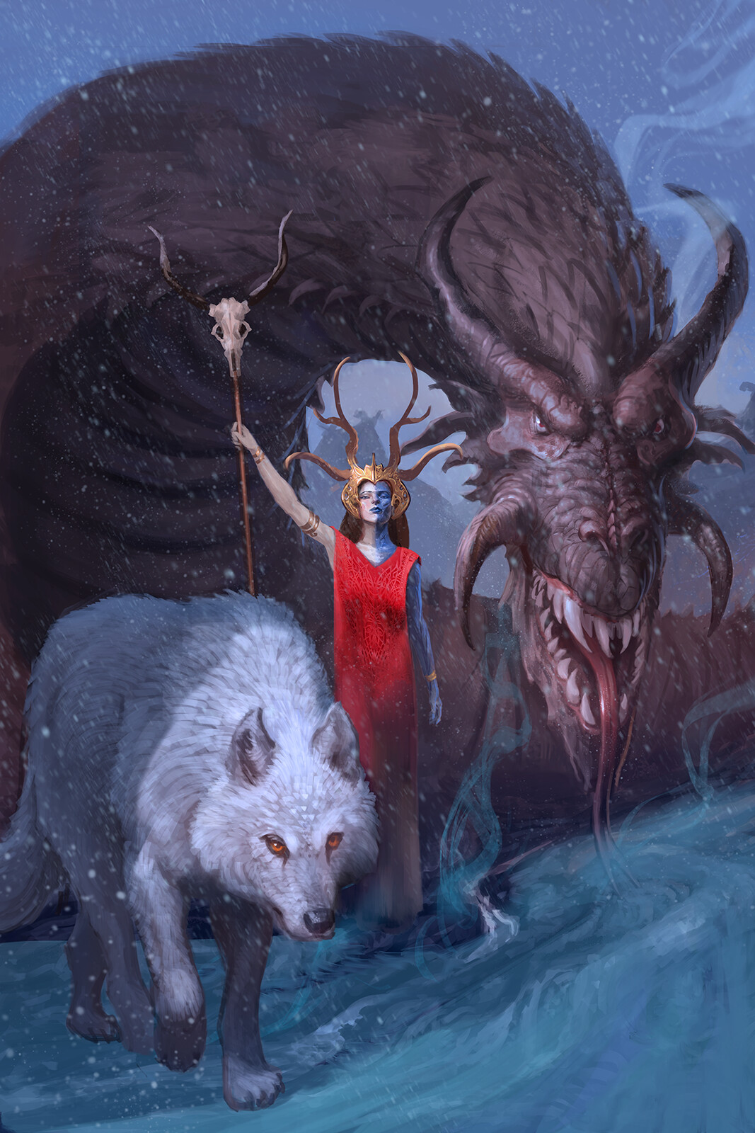 Hel, with her pets Nithog and Garm.