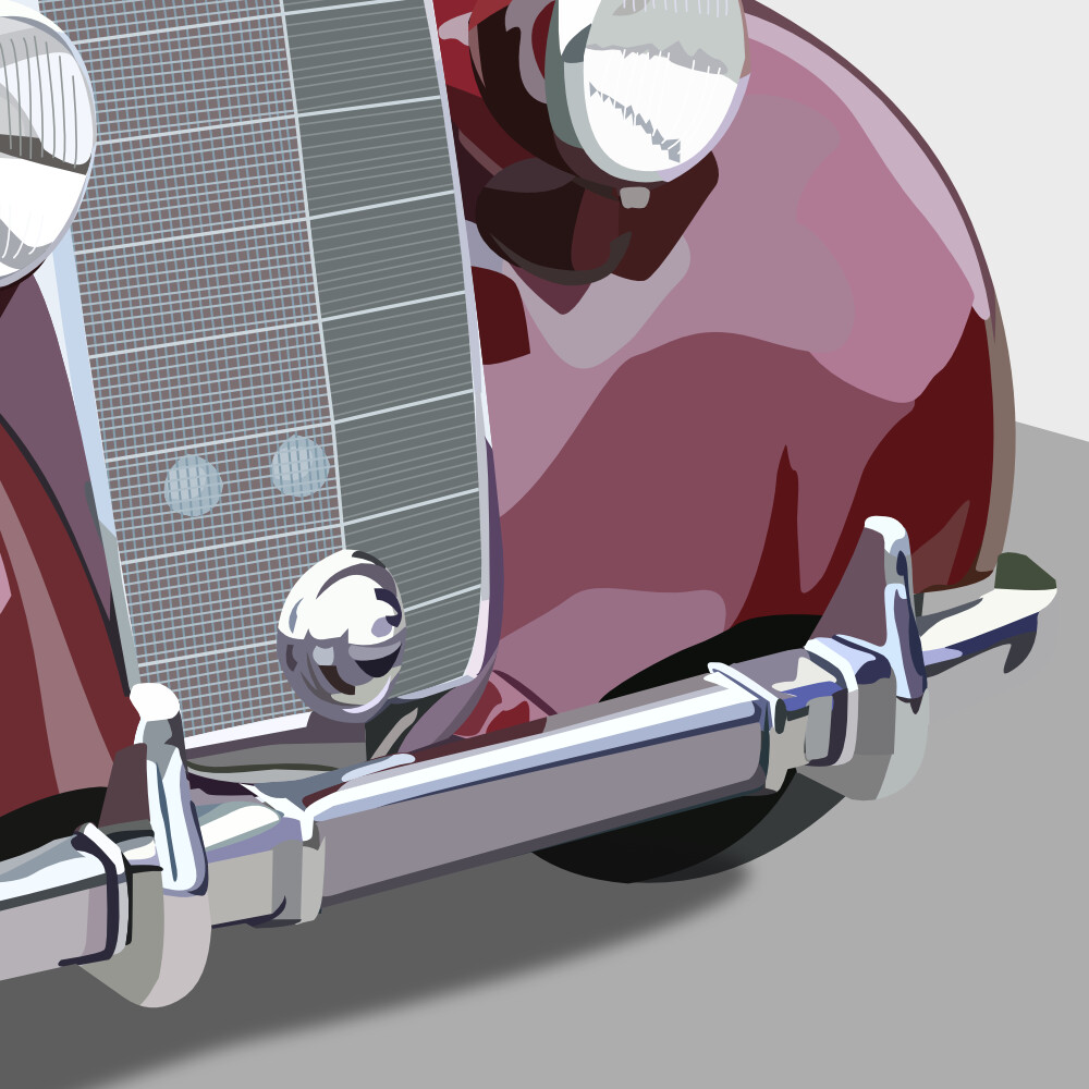 View of the front end, with the detailed view of the front bumper reflections and lots of headlights and grill details