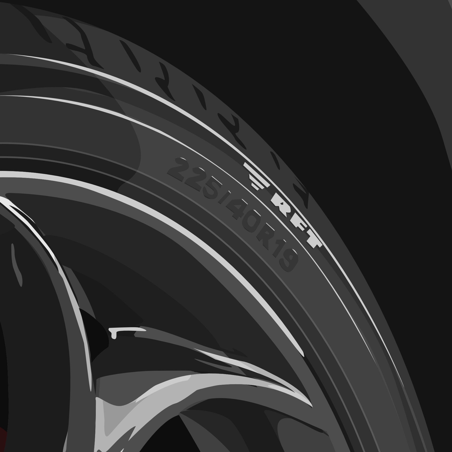 Detailed view of the etching on tyre