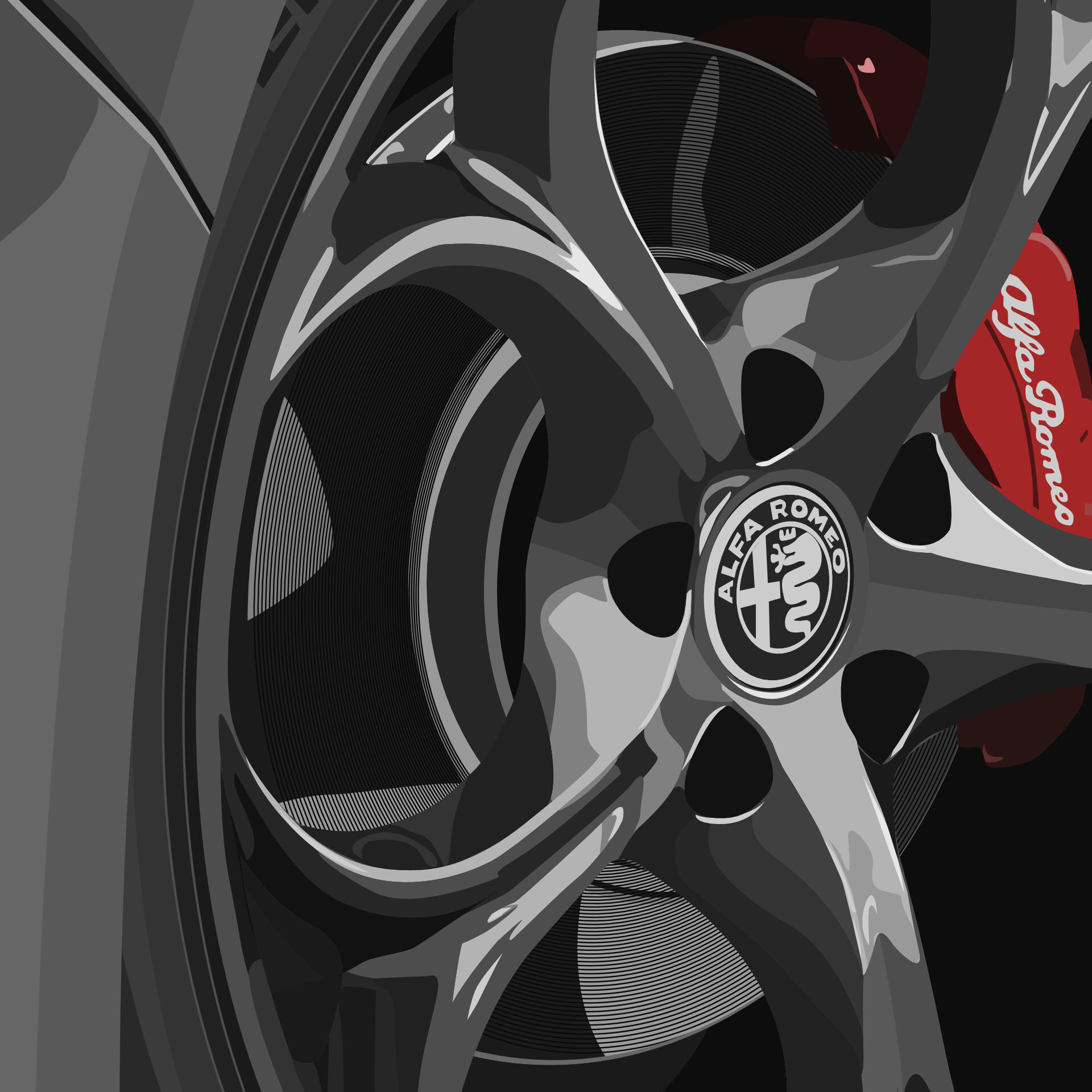 Detailed view of metal reflections on rim and brake disc etchings