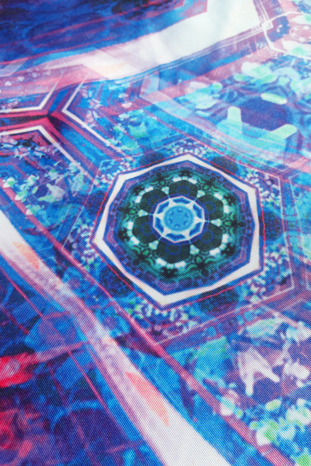 High Quality Tapestry Print Detail Shot  https://warp-store.myshopify.com/collections/tapestries/products/oath-of-the-jewel-box-blue-tapestry