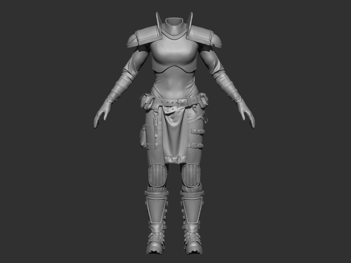 I really liked the face and hair and decided to continue and make a full character. This is still WIP and above is a high poly of the body.