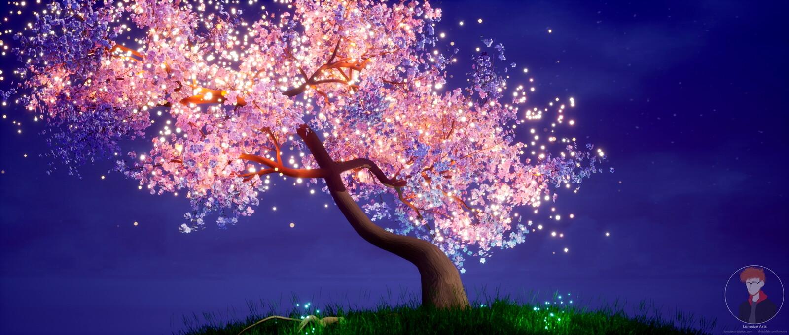 Mystical Cherry Tree Animated Wallpaper
